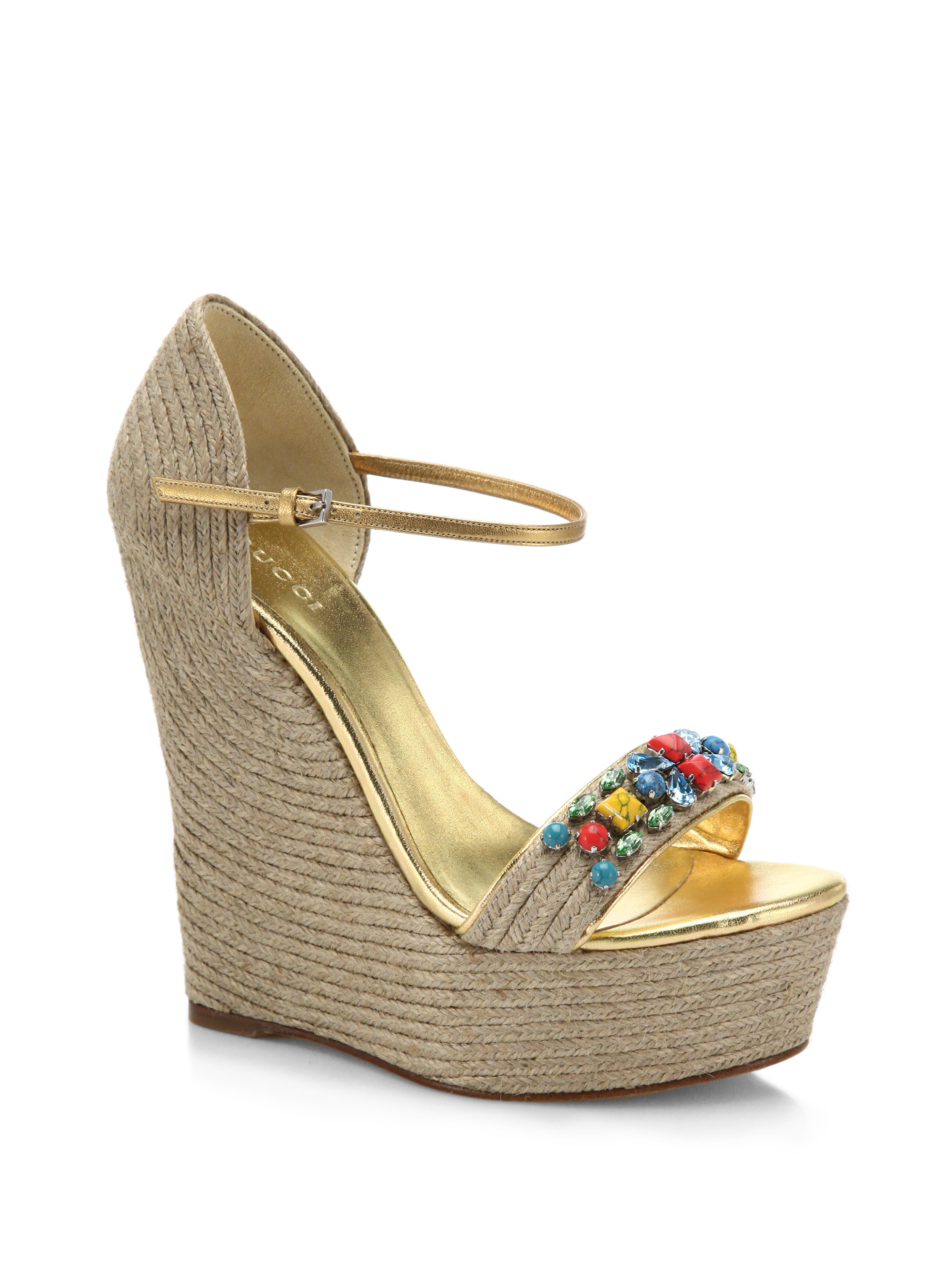603d75d42b3 Lyst - Gucci Carolina Stone Espadrille Wedge Sandals in Natural