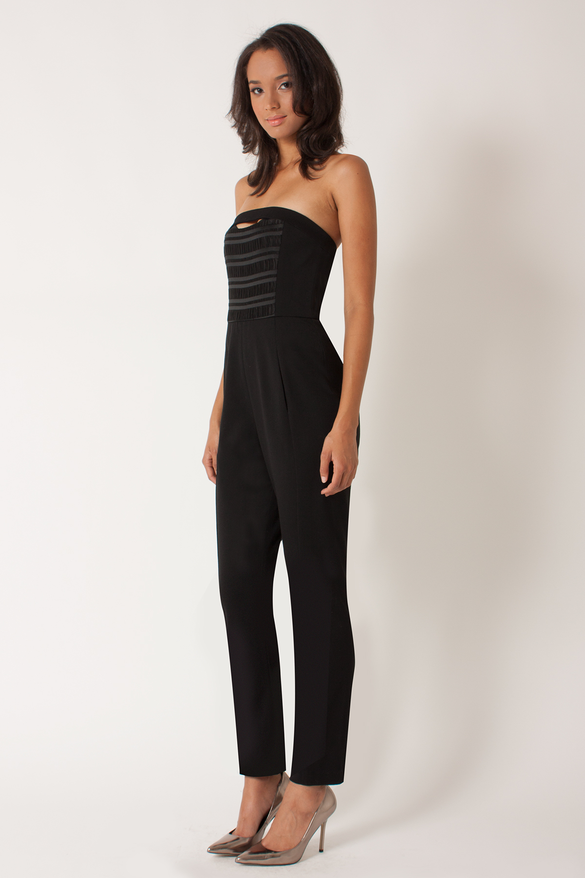 Lyst - Black Halo Leyton Strapless Jumpsuit in Black