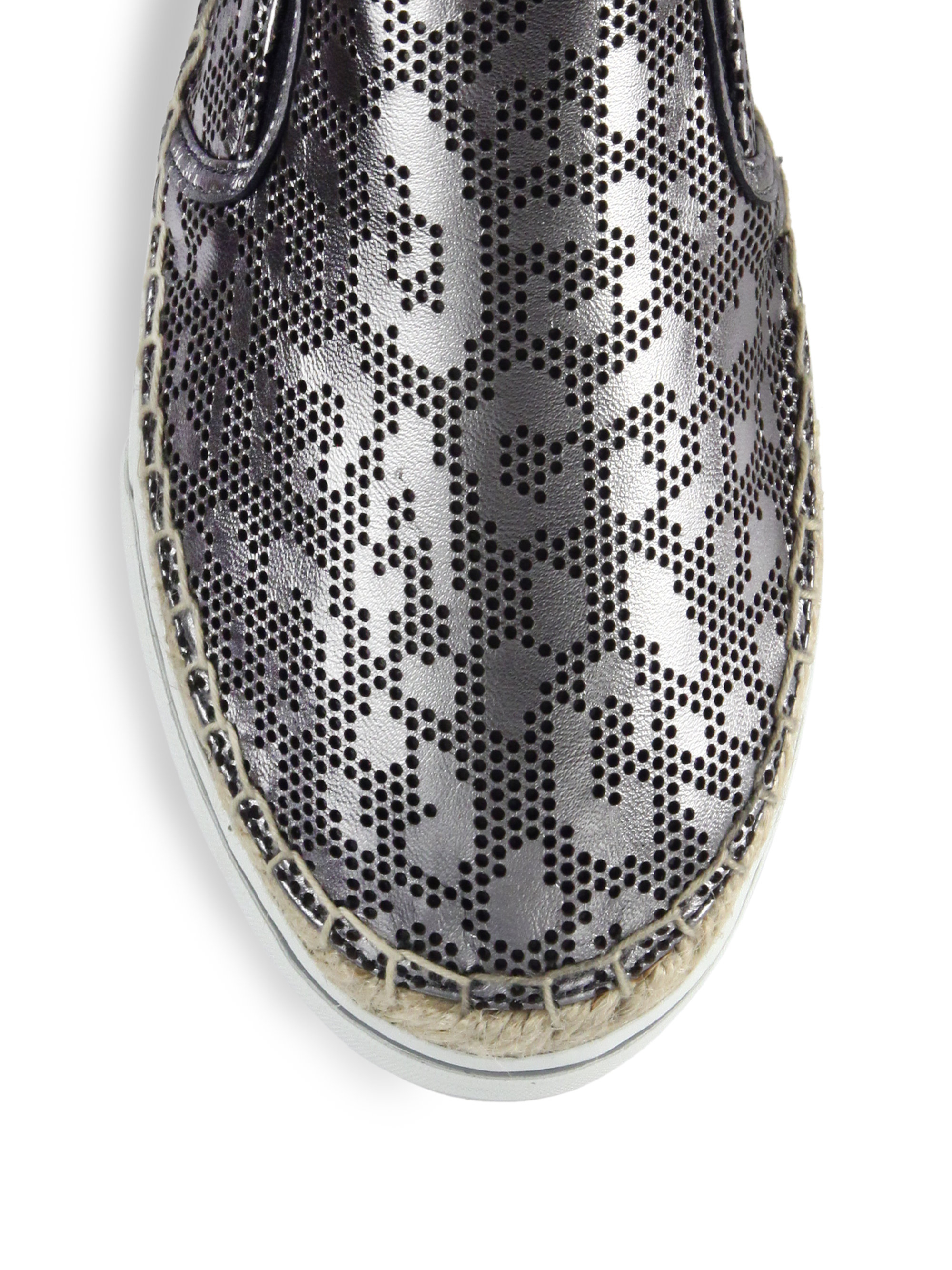 1c6737503a7a ... buy lyst jimmy choo dawn perforated leopard metallic leather sneakers  4be0b f1ee6