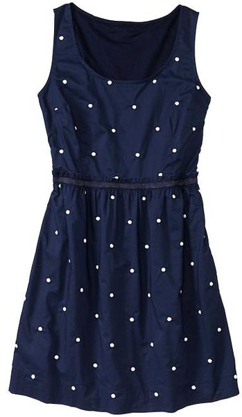 Gap embroidered dot dress in blue navy lyst