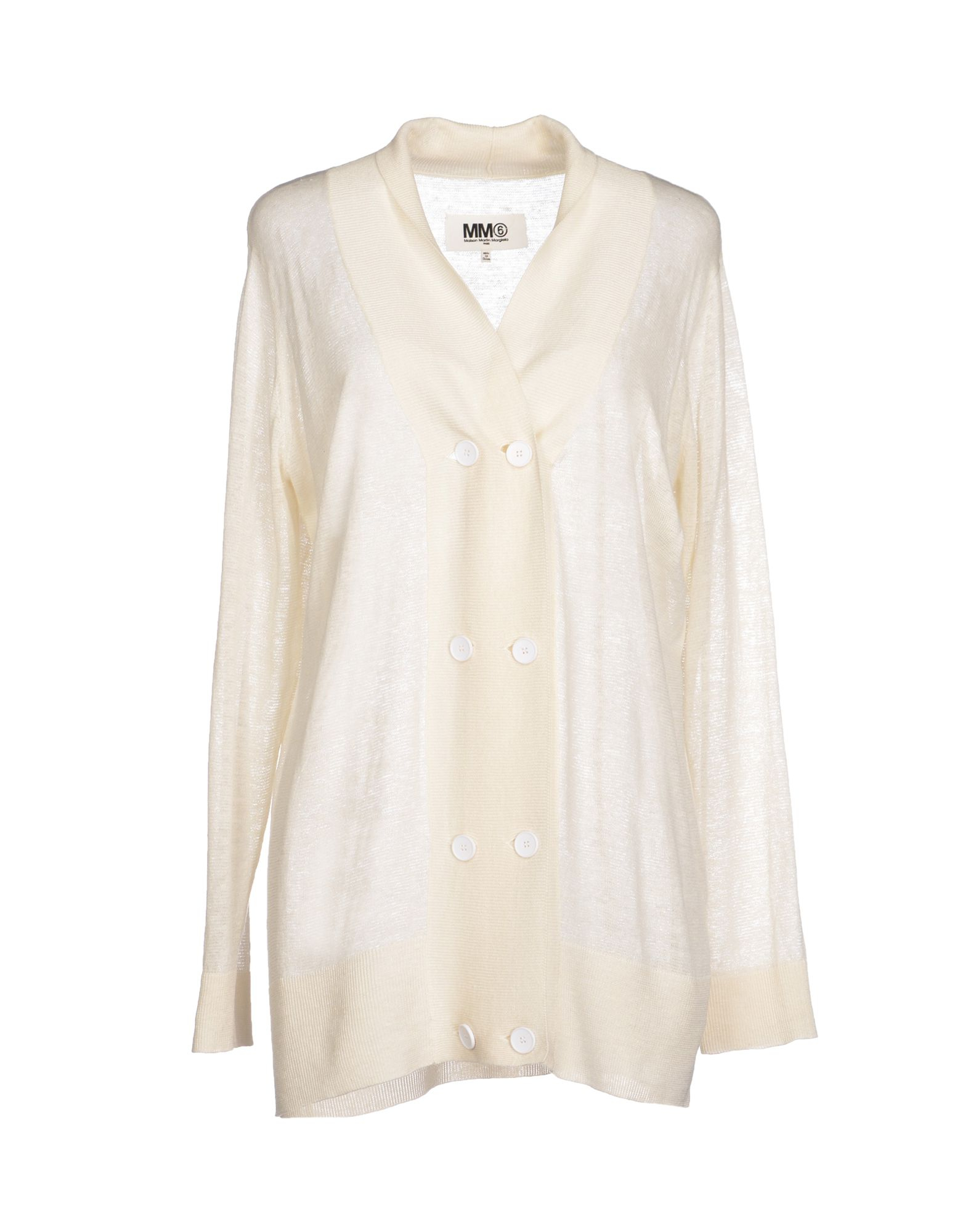Mm6 by maison martin margiela cardigan in white ivory lyst for Mm6 maison margiela