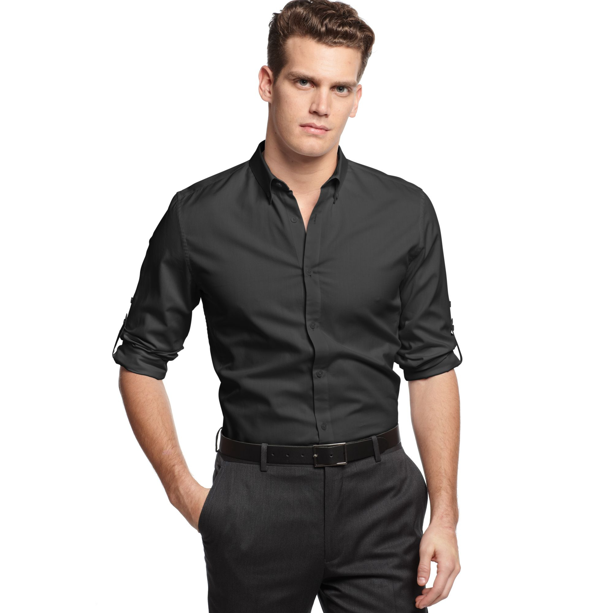 2ecb82eef3d Lyst - Calvin Klein Micro Dobby Slim Fit Shirt in Black for Men