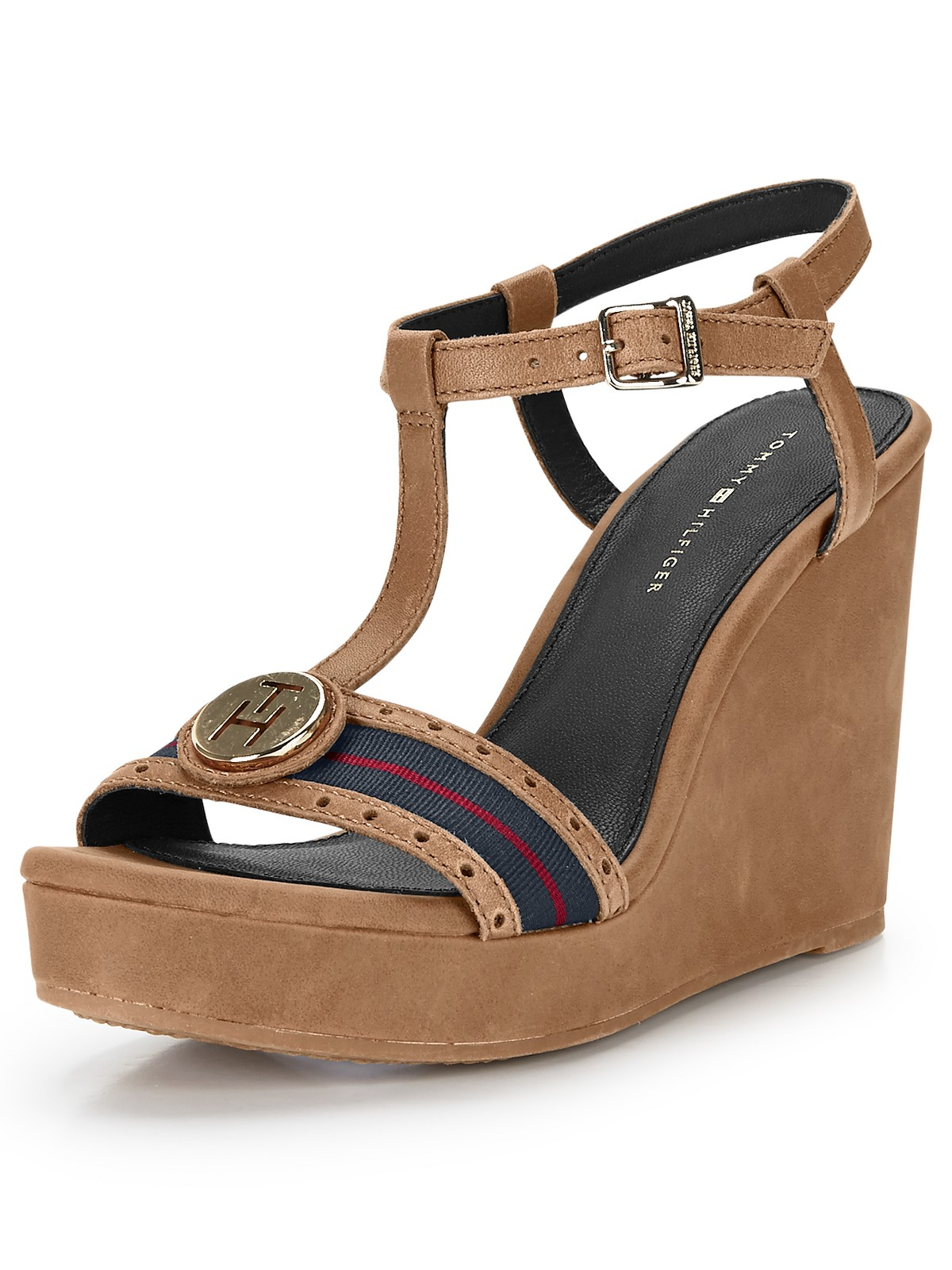 tommy hilfiger emery leather logo wedge sandals in brown. Black Bedroom Furniture Sets. Home Design Ideas