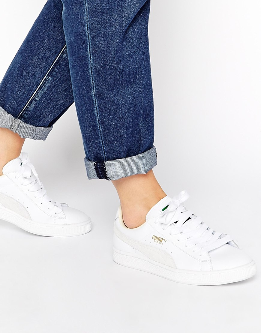 2fee4a710b5c Lyst - PUMA Basket Classic White Sneakers in White