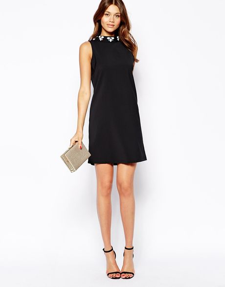 High Neck Shift Dress With