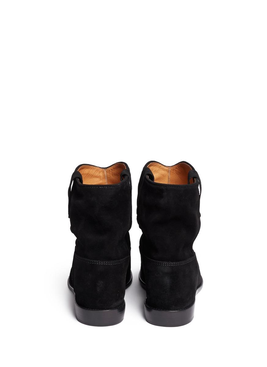 a9c61c4cc271 Étoile Isabel Marant - Black  crisi  Ruche Cuff Suede Ankle Boots - Lyst