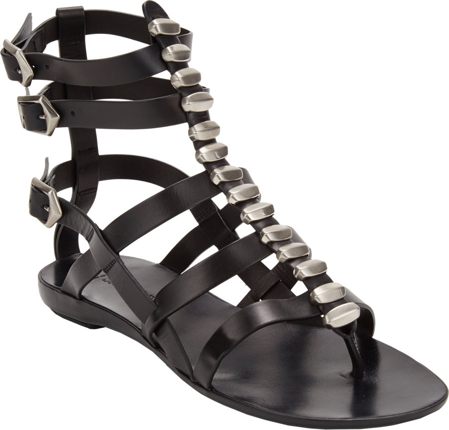 Lyst Sartore Studded Flat Gladiator Sandals In Black