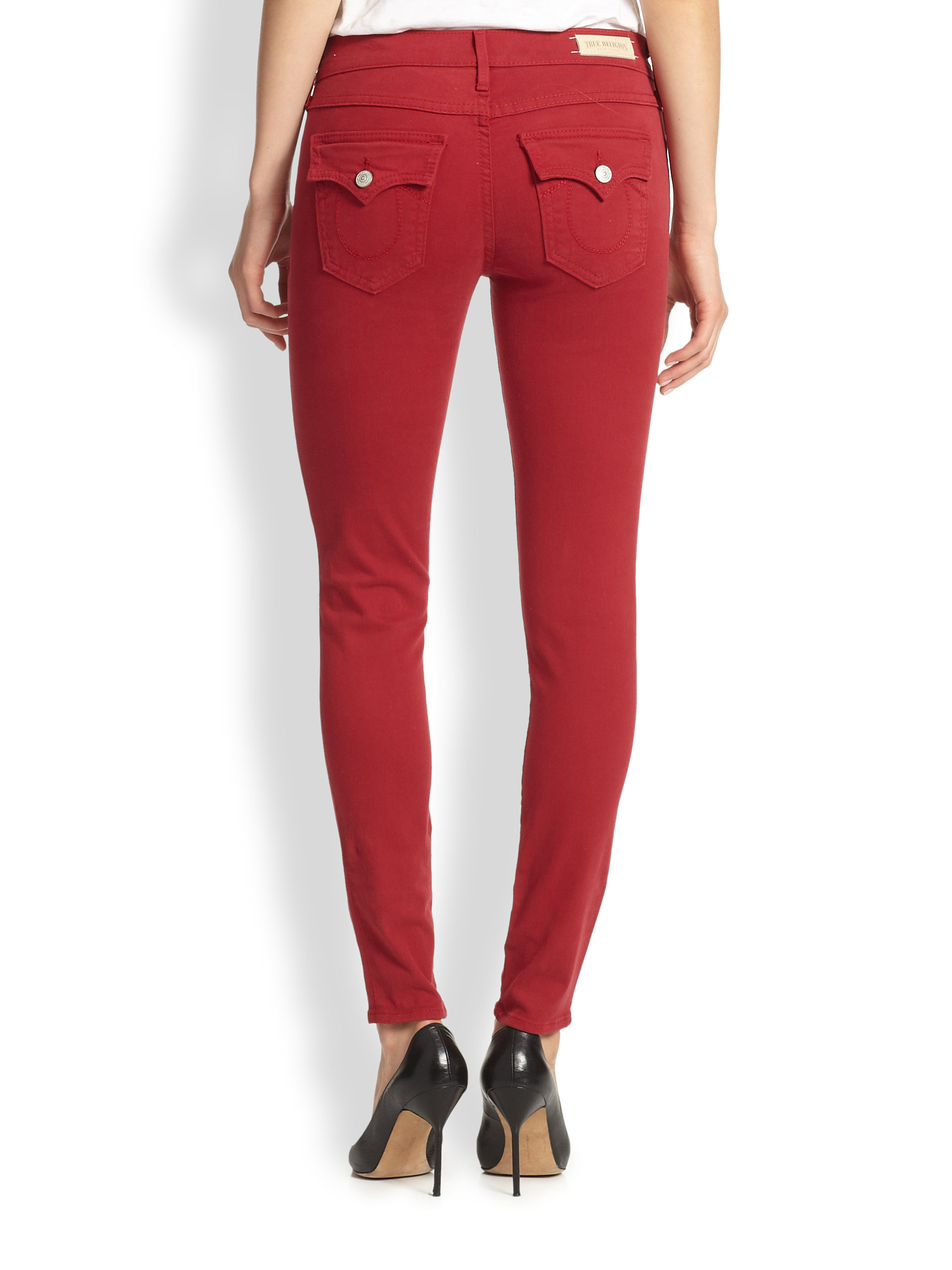 True religion Serena Super Skinny Jeans in Red | Lyst