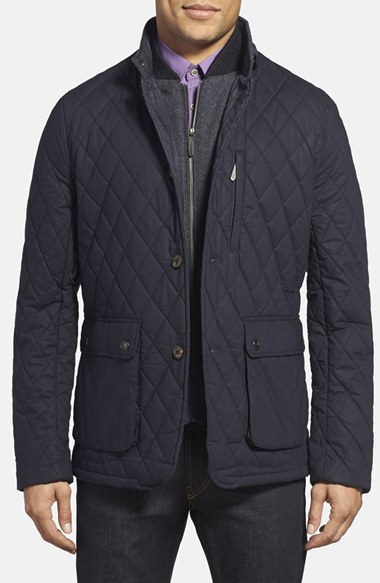 75dec00c18c665 Lyst - Ted Baker  garyen  Diamond Quilted Jacket With Herringbone ...