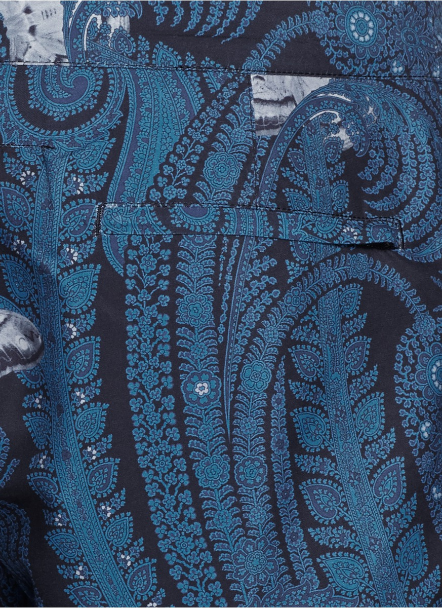 givenchy paisley moth print taffeta swim shorts in blue for men lyst. Black Bedroom Furniture Sets. Home Design Ideas