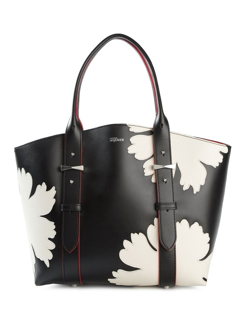 Lyst Alexander Mcqueen Legend Lotus Flower Shopper Tote In Black