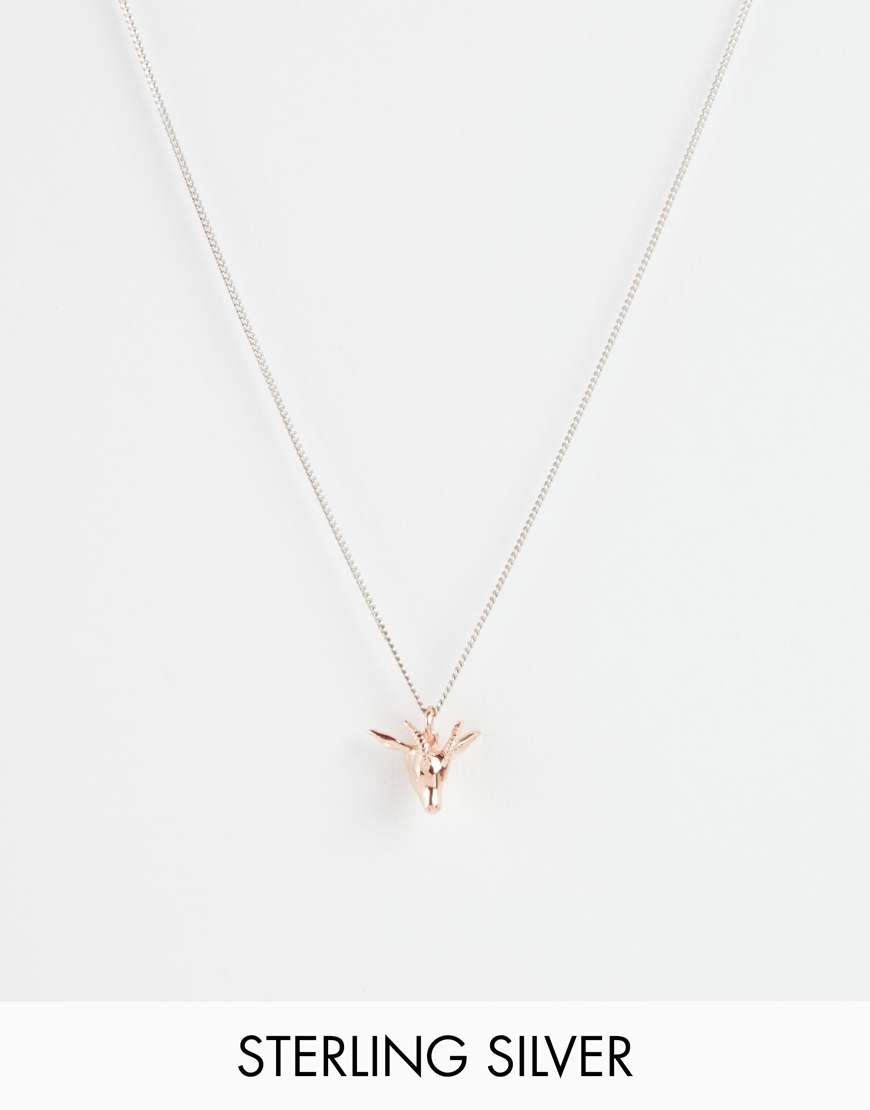 Bill skinner Rose Gold Antelope Head Necklace in Metallic Lyst