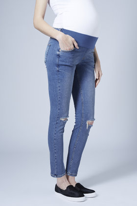 Topshop Maternity Moto Jamie Jeans Mid Stone in Blue | Lyst