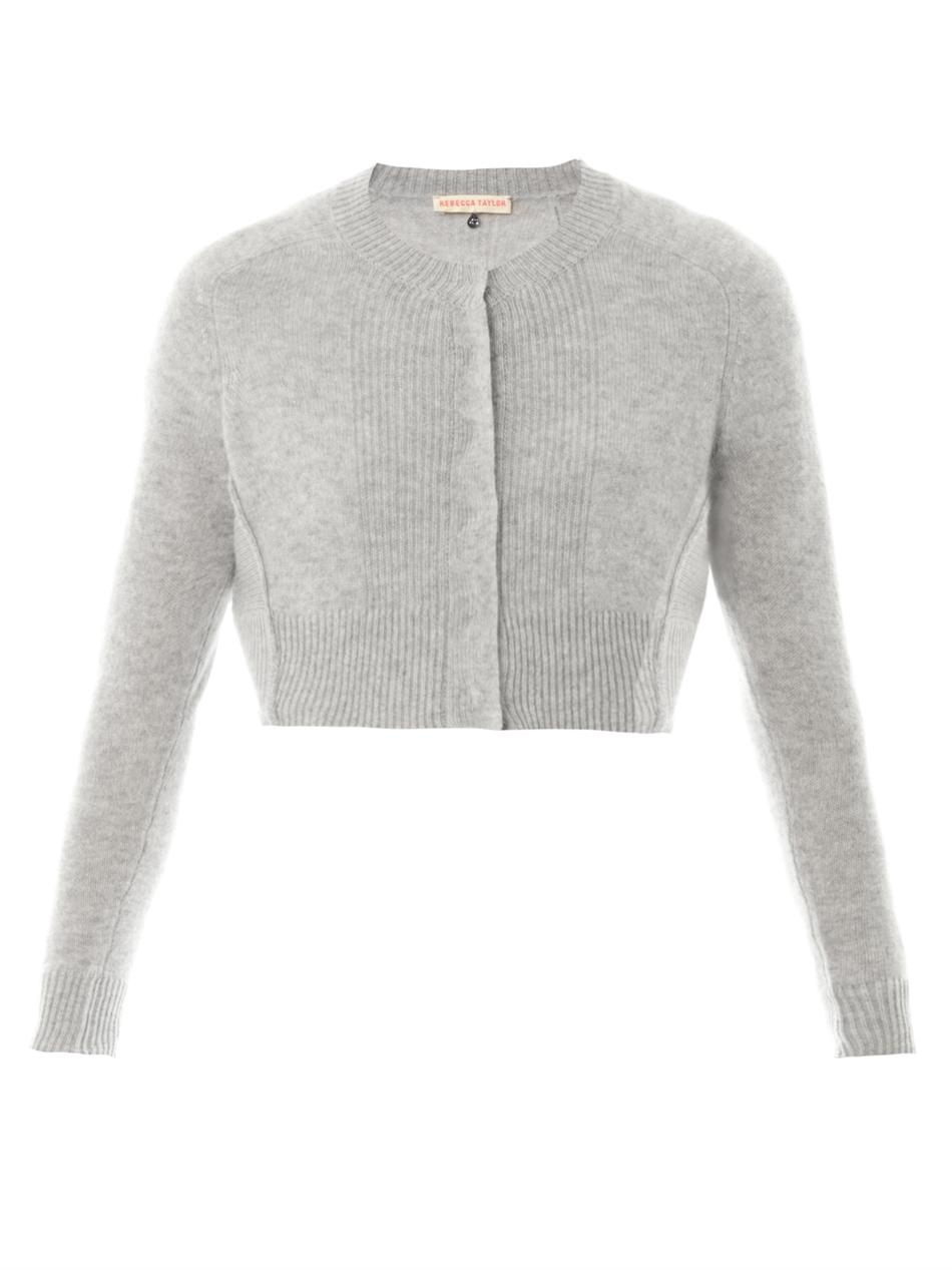Rebecca taylor Cropped Cashmere Cardigan in Gray | Lyst