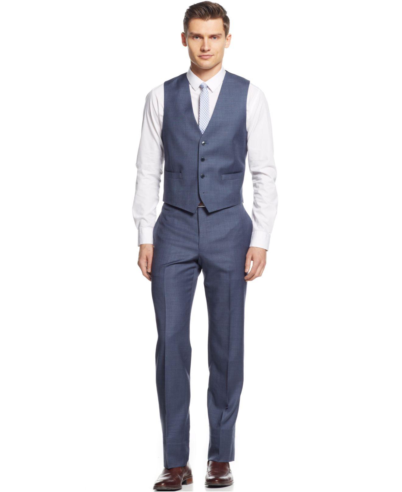 Lyst calvin klein x blue grey sharkskin vested extra for Calvin klein x fit dress shirt