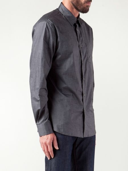 John varvatos button down shirt in gray for men grey lyst for Grey button down shirt
