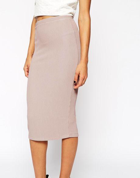 asos pink midi pencil skirt in heavy rib lyst