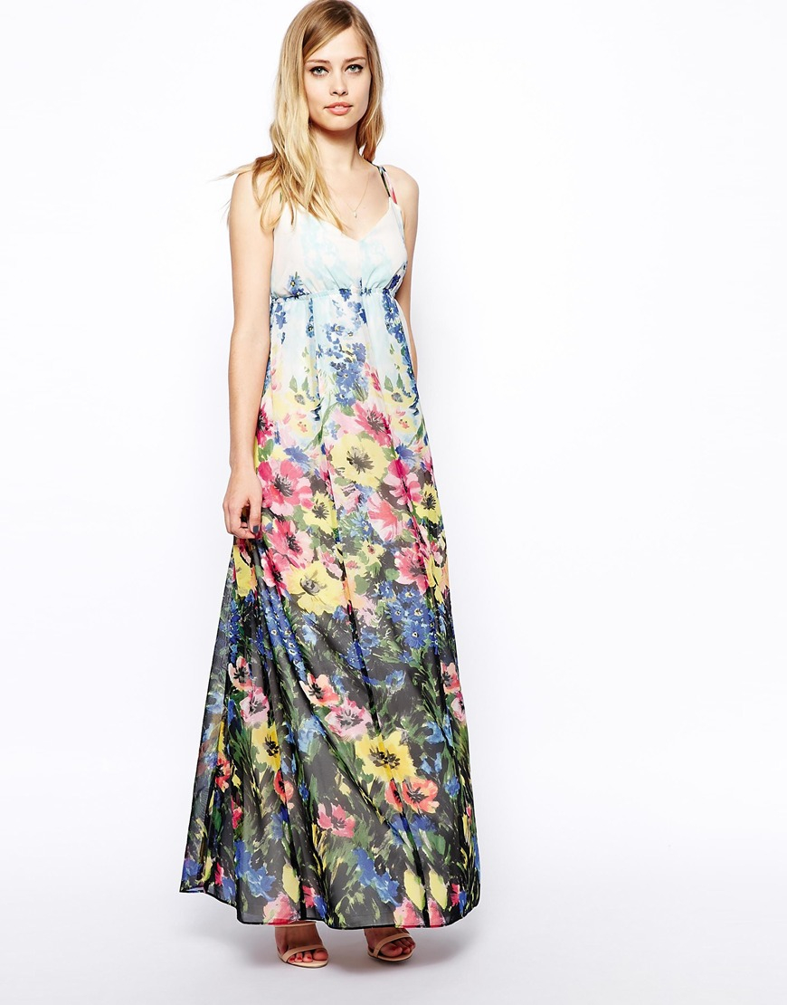 Lyst Asos Floral Maxi Dress