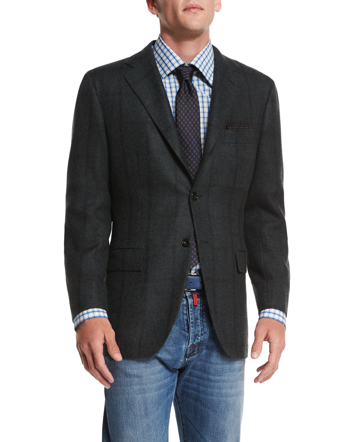 Lyst Kiton Cashmere Plaid Sport Coat In Green For Men