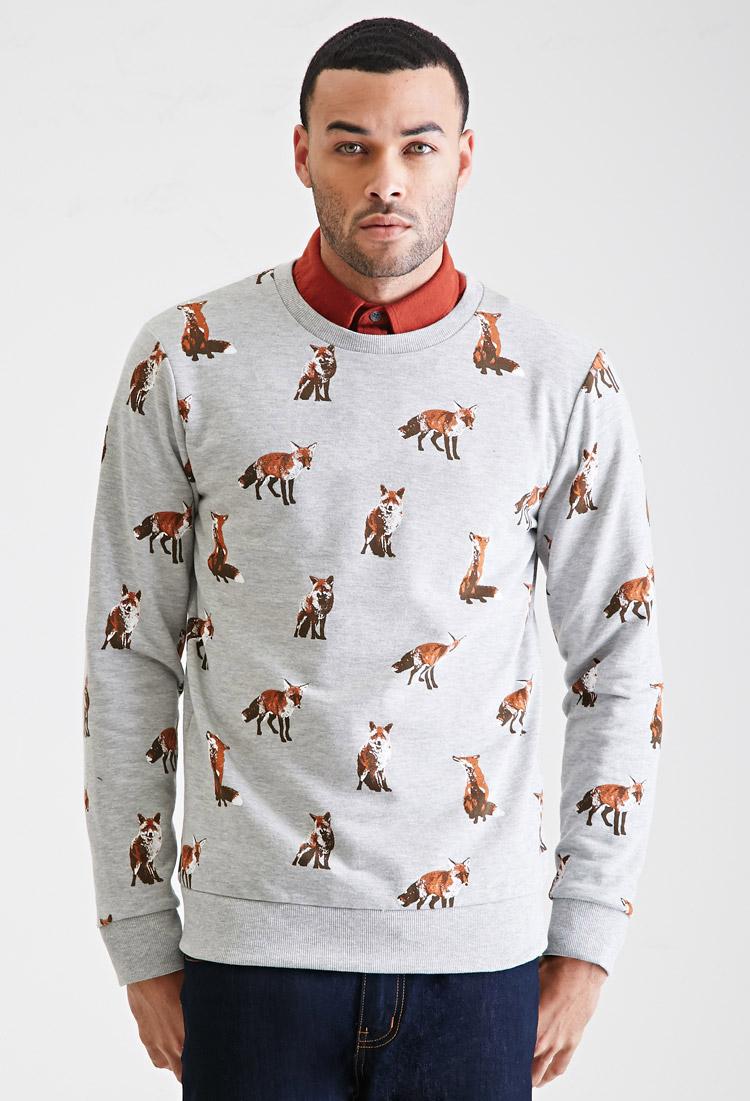 cfcef0908f6 Lyst - Forever 21 Fox Print Sweatshirt in Gray