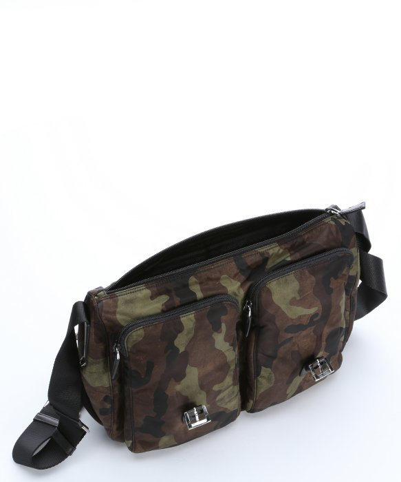 Prada Green and Black Camouflage Nylon Flap Front Messenger Bag in ... - prada weekender black