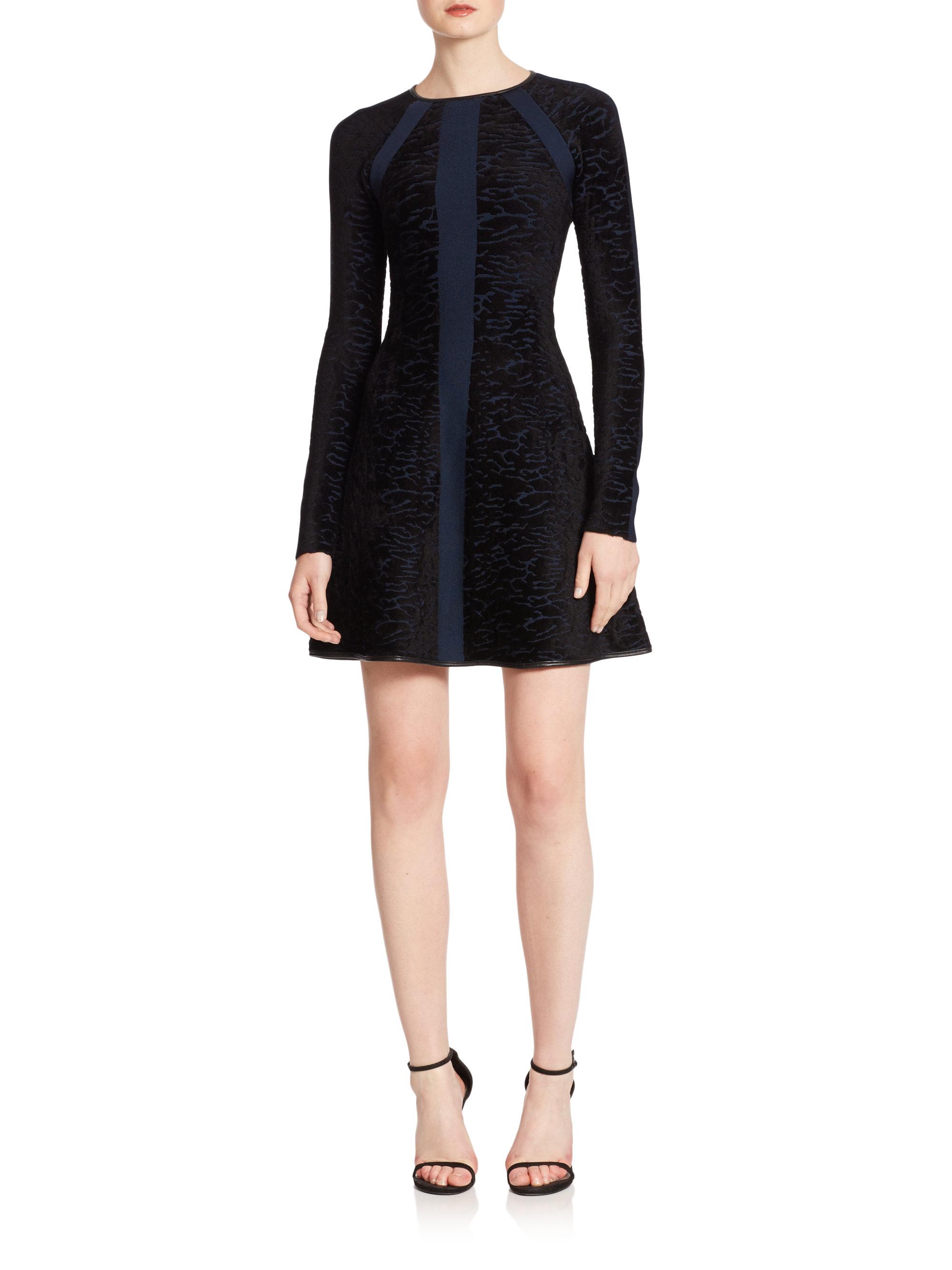 Lyst Issa Jacquard Velvet Fit Amp Flare Dress In Blue