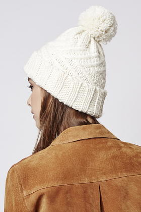 Lyst - Topshop Cable Knit Pom Beanie in Natural 2c34ffc04e2d