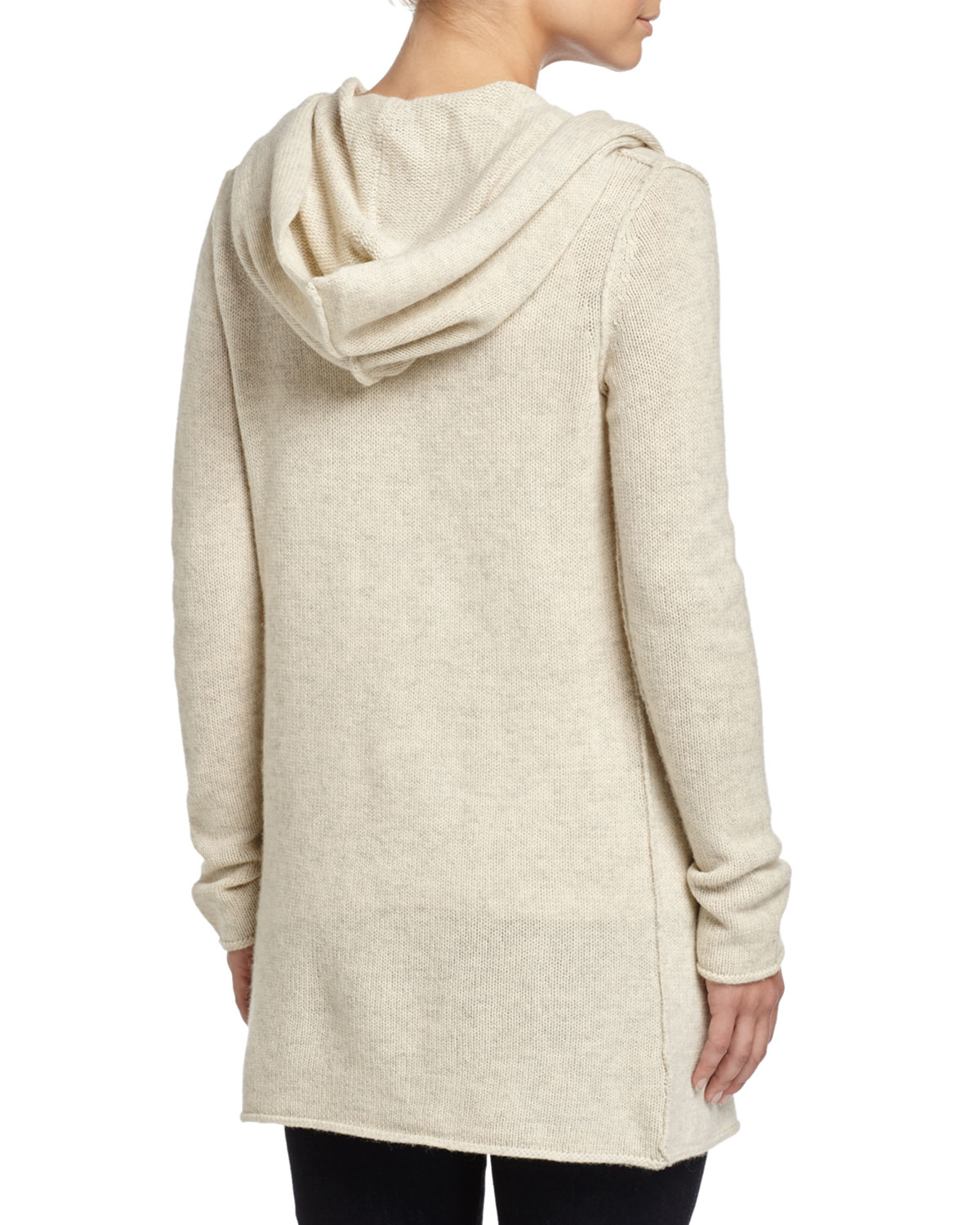 Vince Sophie Long Hooded Cardigan in Gray | Lyst
