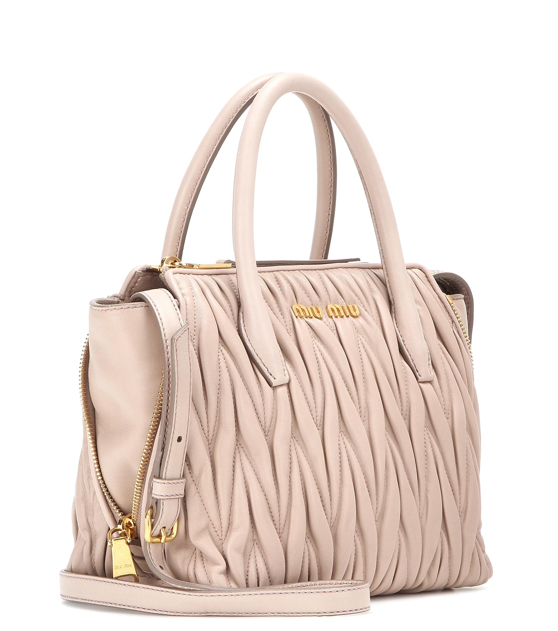 Lyst - Miu Miu Matelassé Leather Tote in Pink 3c001699c