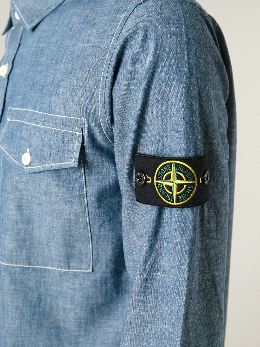 1ef057b2 Stone Island Logo Patch Denim Shirt in Blue for Men - Lyst