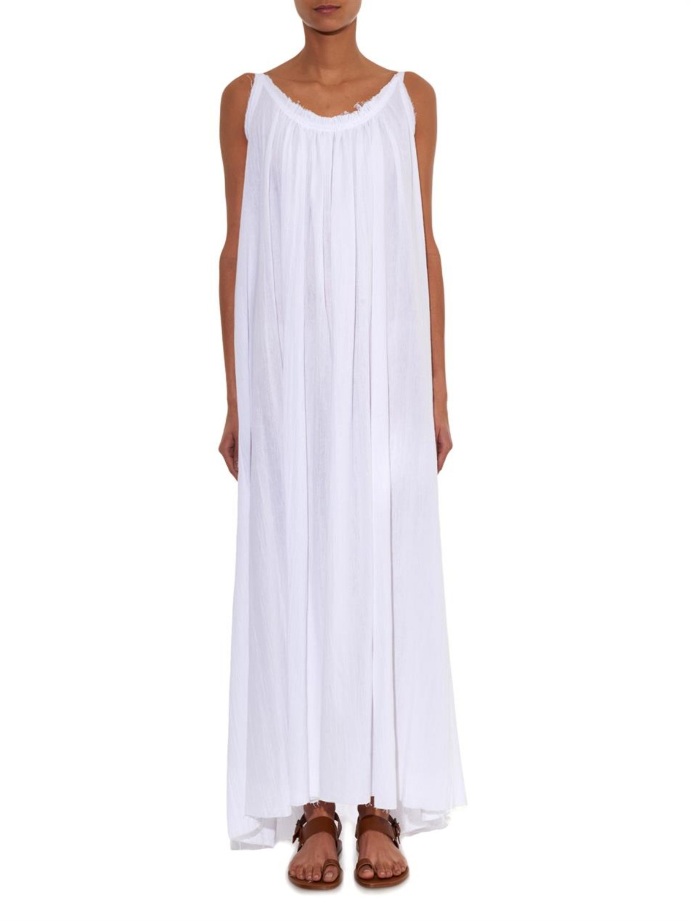 Loup charmant Cotton-Seersucker Maxi Dress in White | Lyst