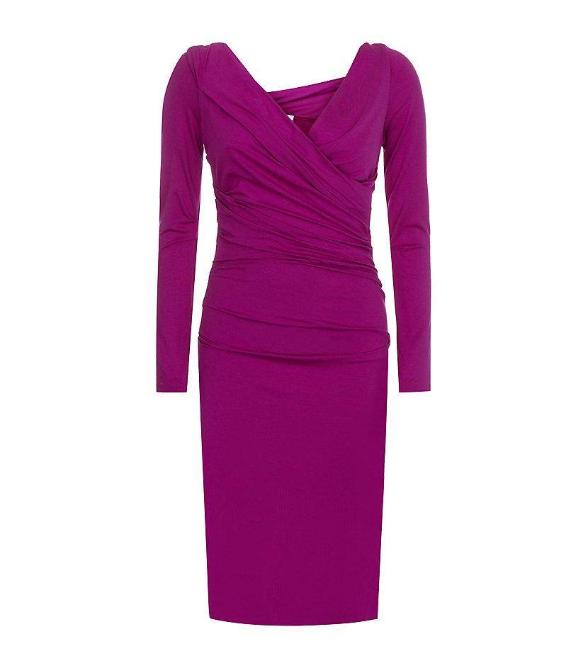 Diane Von Furstenberg Bentley Ruched Dress In Purple