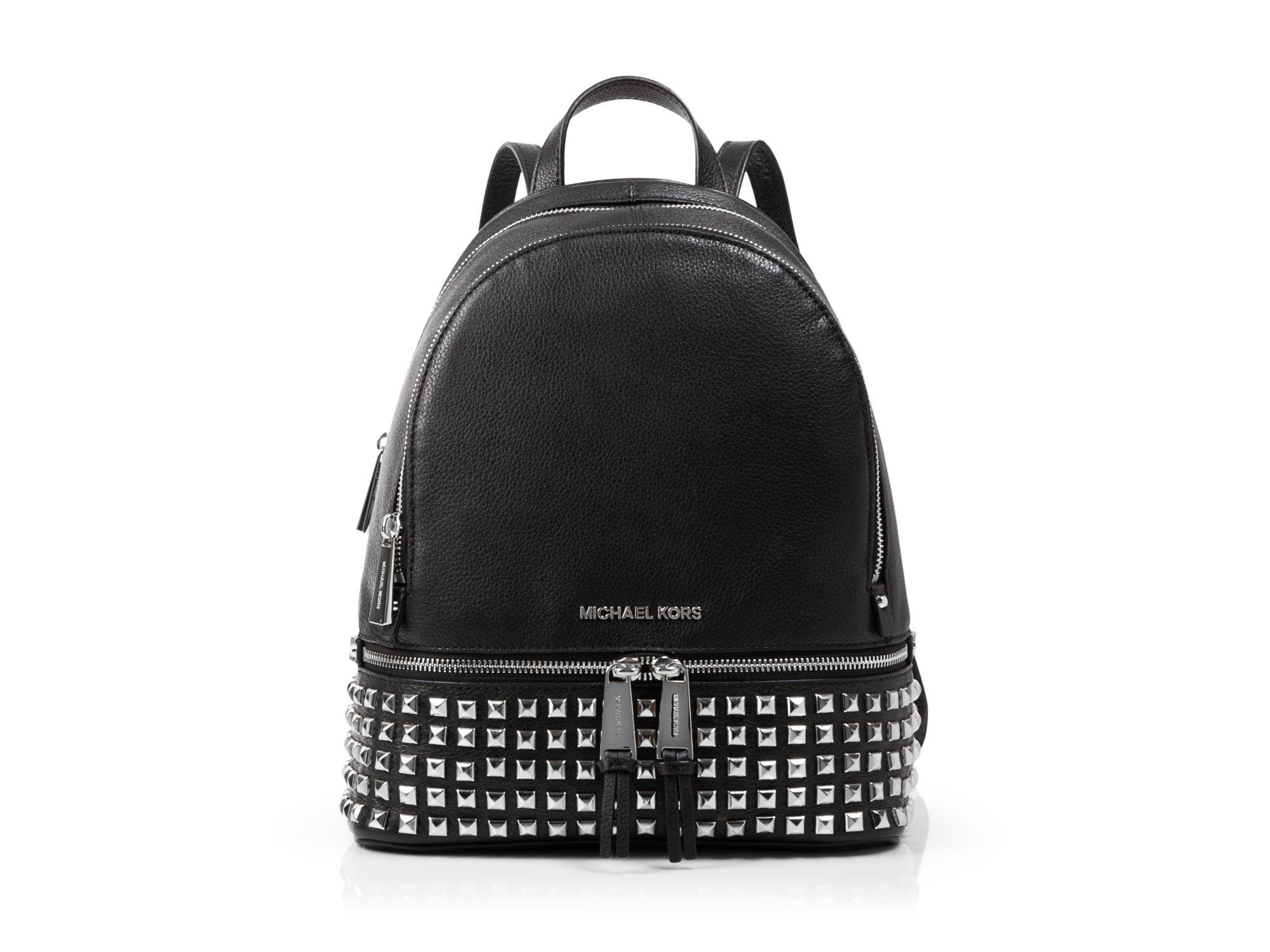 2c962b02f23a ... czech lyst michael michael kors small rhea zip studded backpack in  white 78b82 9bd90