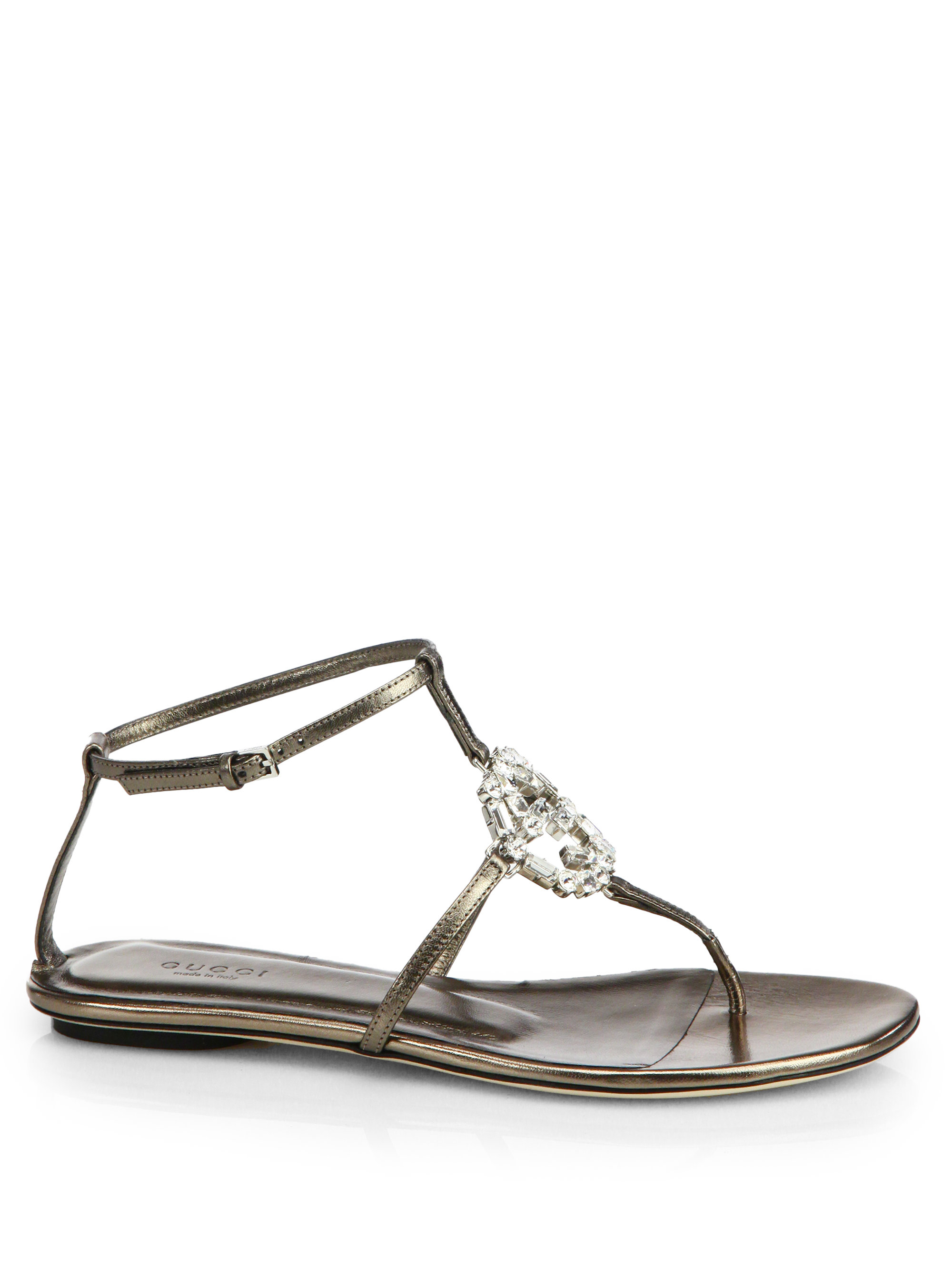 a8488c3df Gucci GG Crystal Leather Sandals in Metallic - Lyst