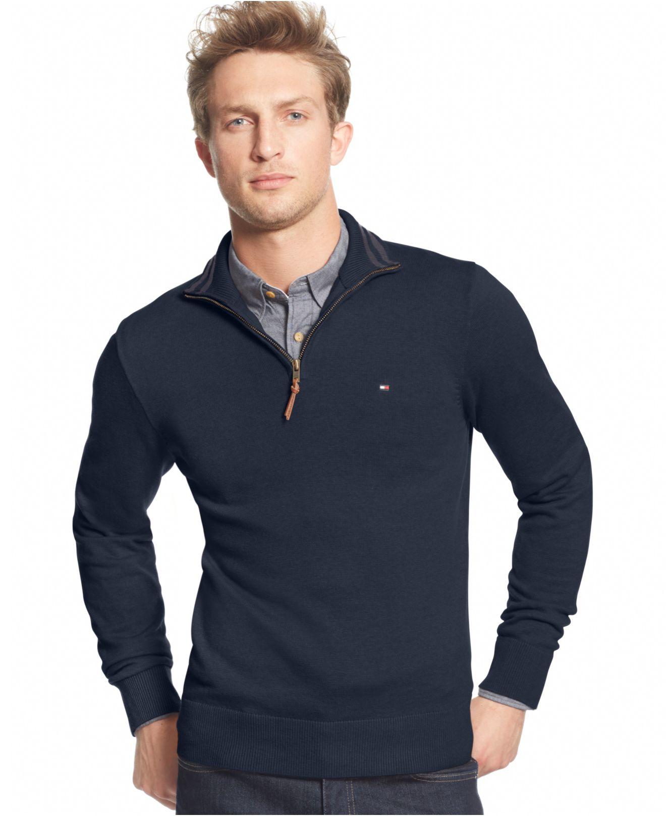 tommy hilfiger zip sweater gray cardigan sweater. Black Bedroom Furniture Sets. Home Design Ideas