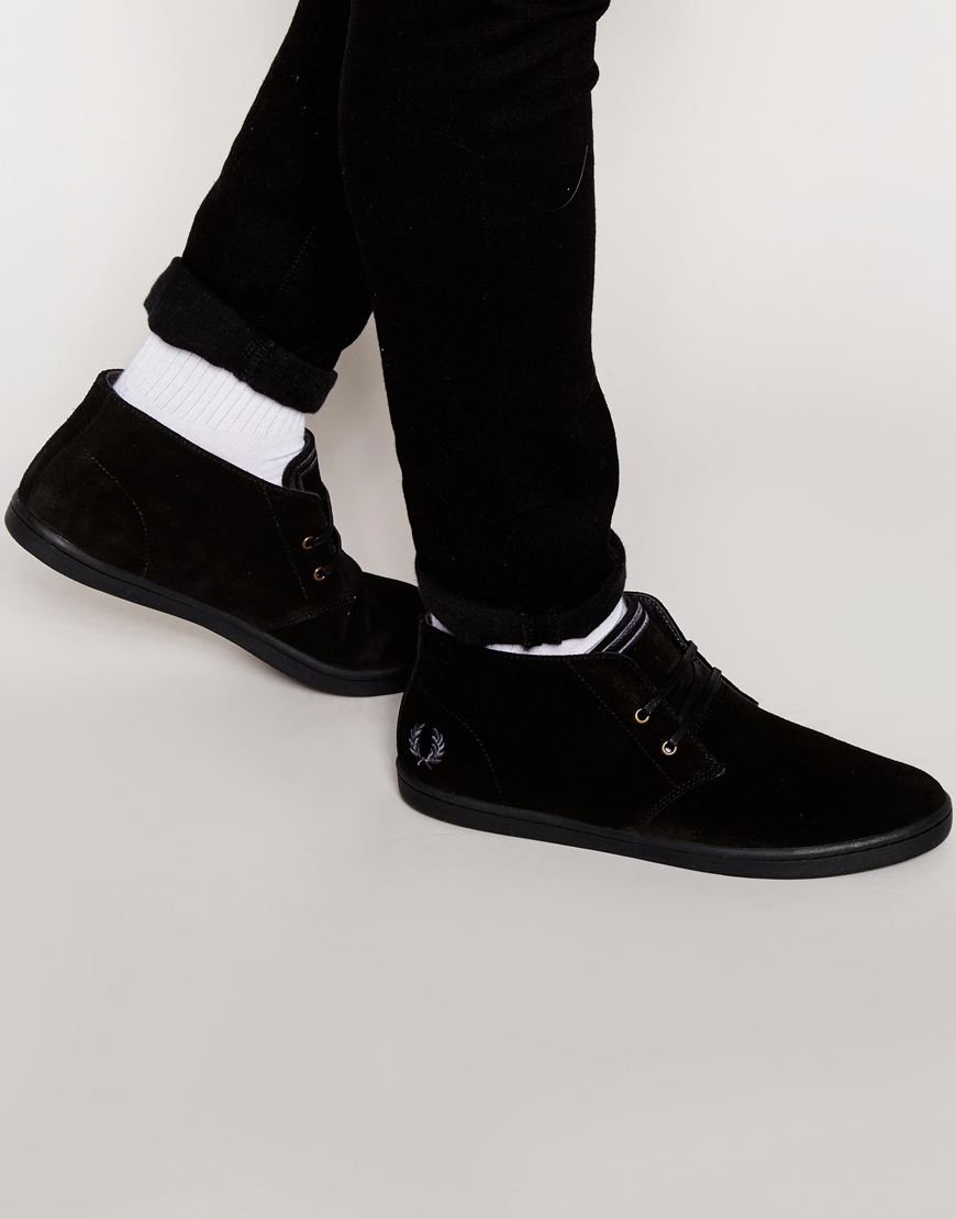 5a51e4d88ff Lyst - Fred Perry Byron Mid Suede Chukka Boots in Black for Men