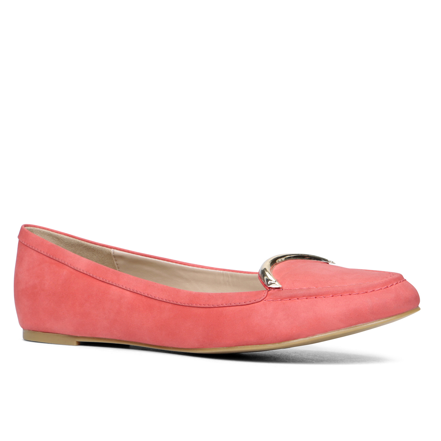 Flat Leather Shoes Red Misc Color
