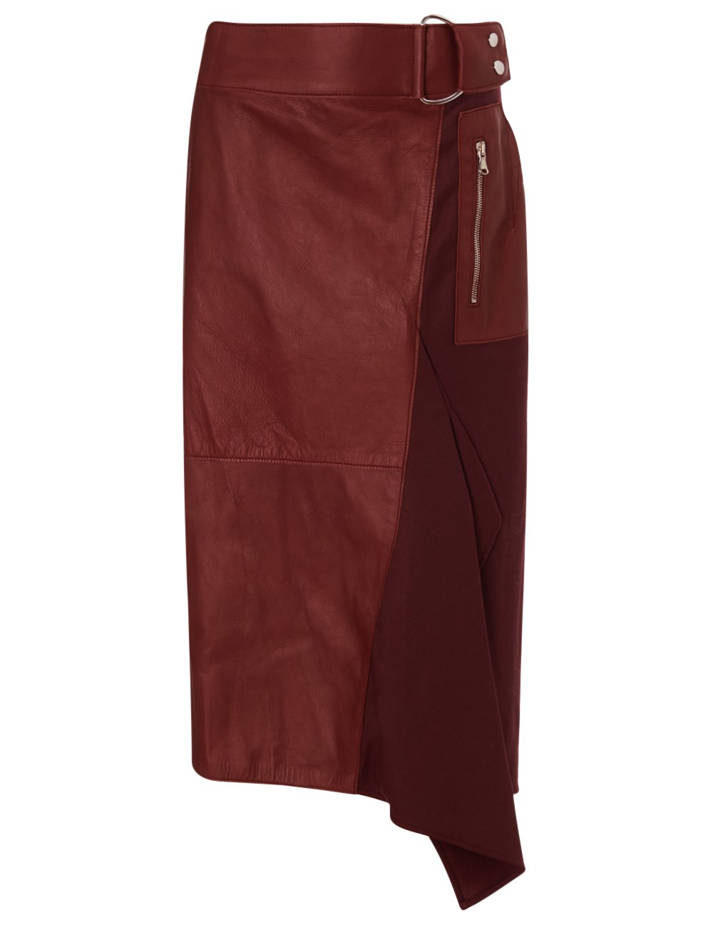 3 1 phillip lim burgundy leather flight details skirt in