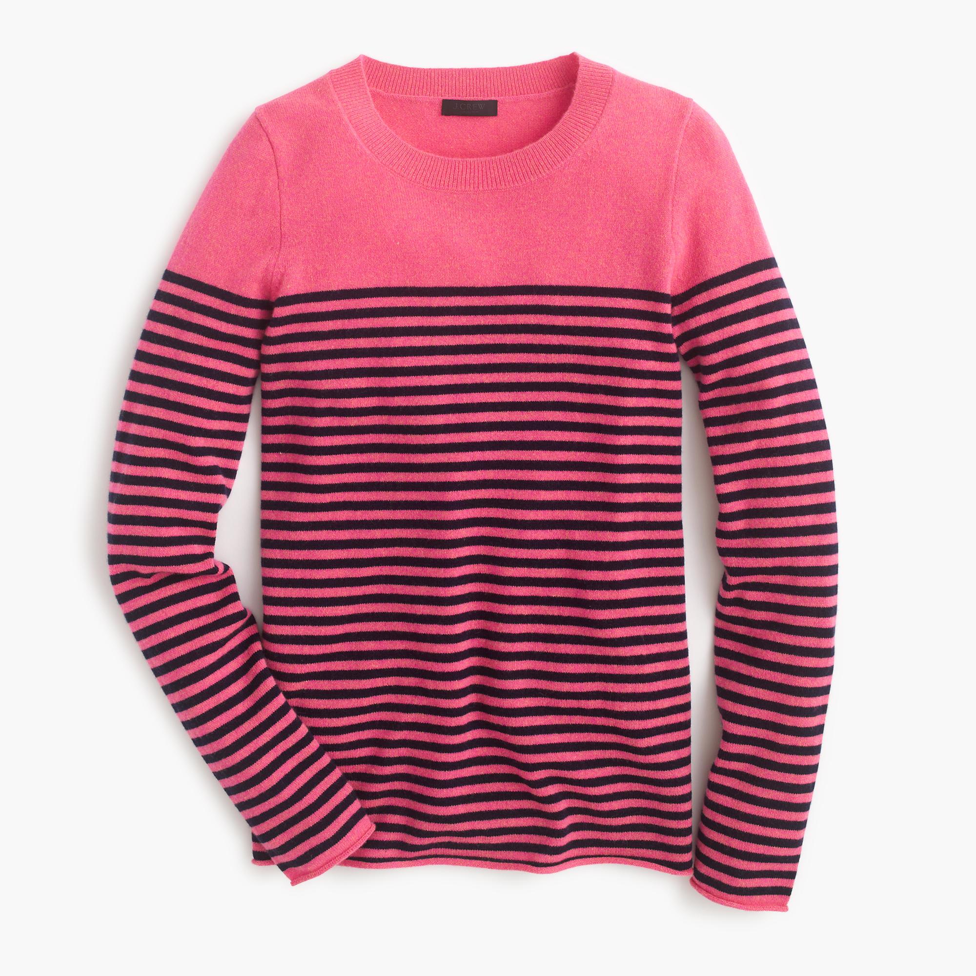 Italian cashmere long sleeve t shirt in stripe in for Mens striped long sleeve t shirt