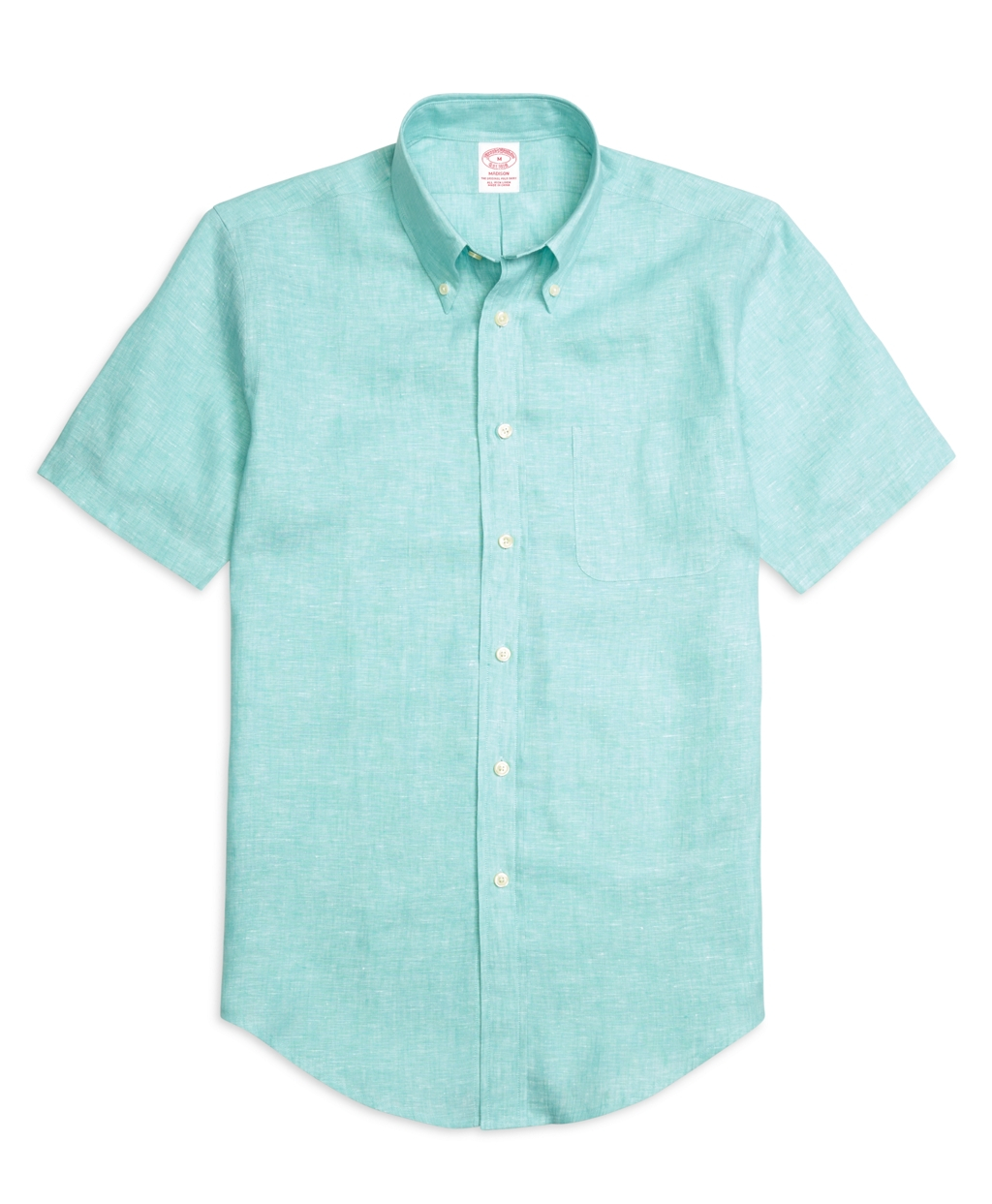 Brooks brothers teal madison fit linen short sleeve for Brooks brothers shirt size guide