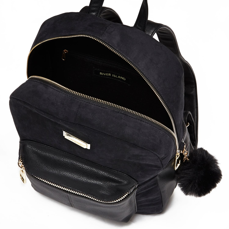 6c80c3c75a River Island Black Pom Pom Backpack in Black - Lyst