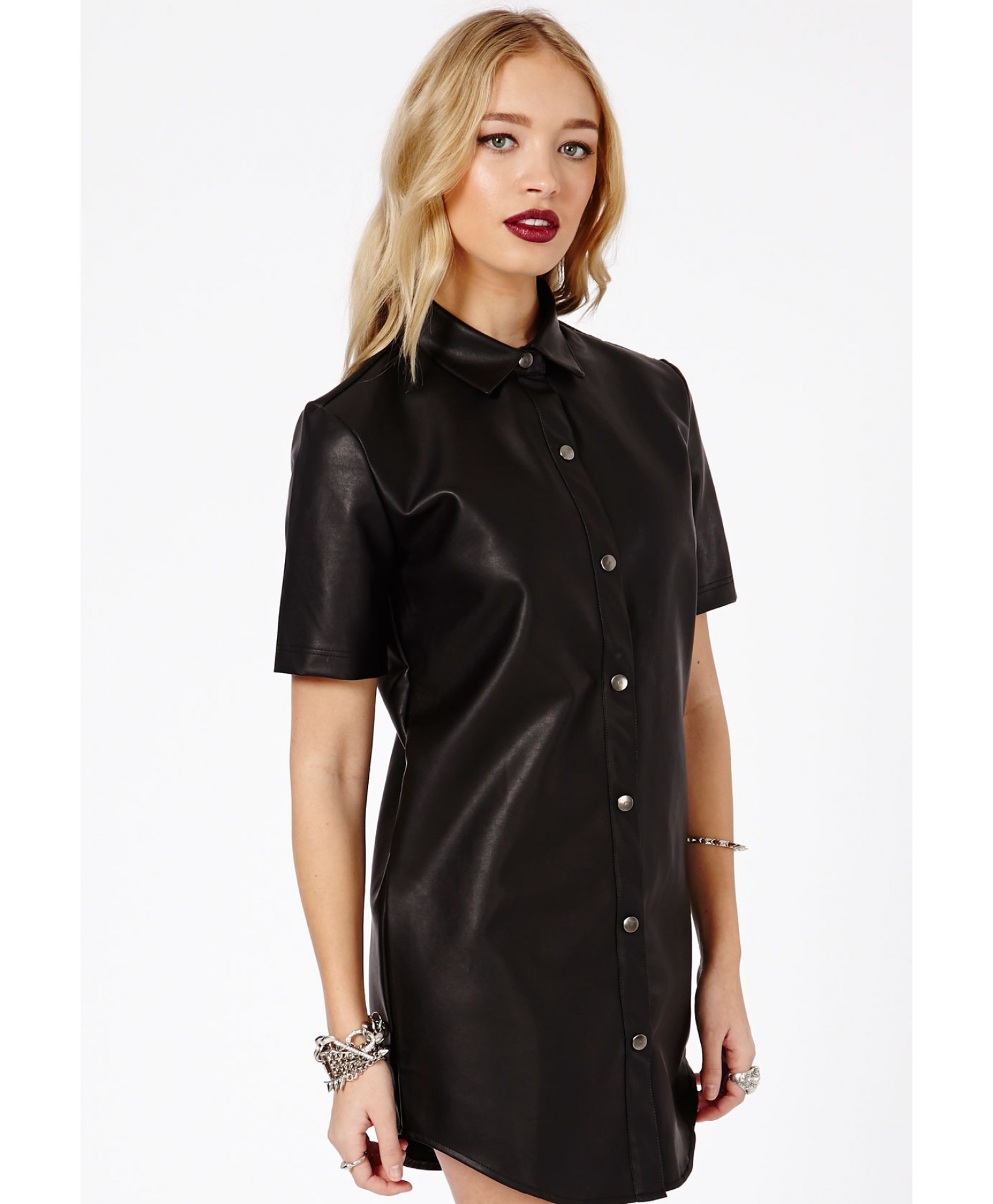 Missguided Agata Faux Leather Shirt Dress in Black | Lyst