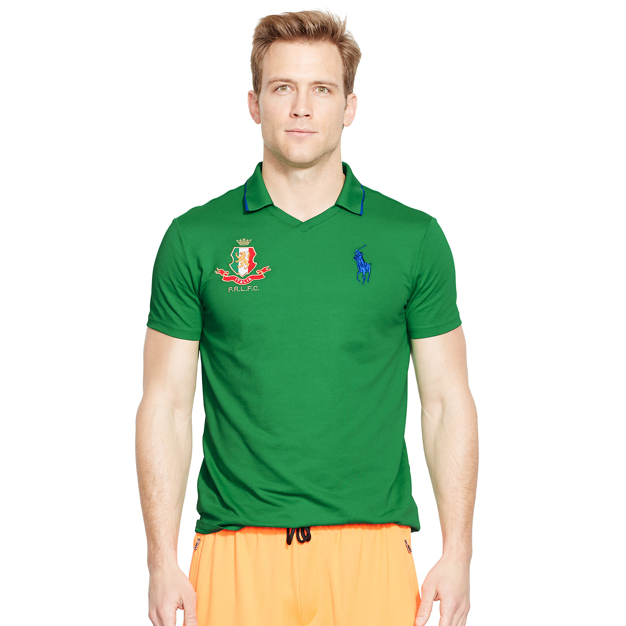 Lyst ralph lauren italy polo shirt in green for men Man in polo shirt