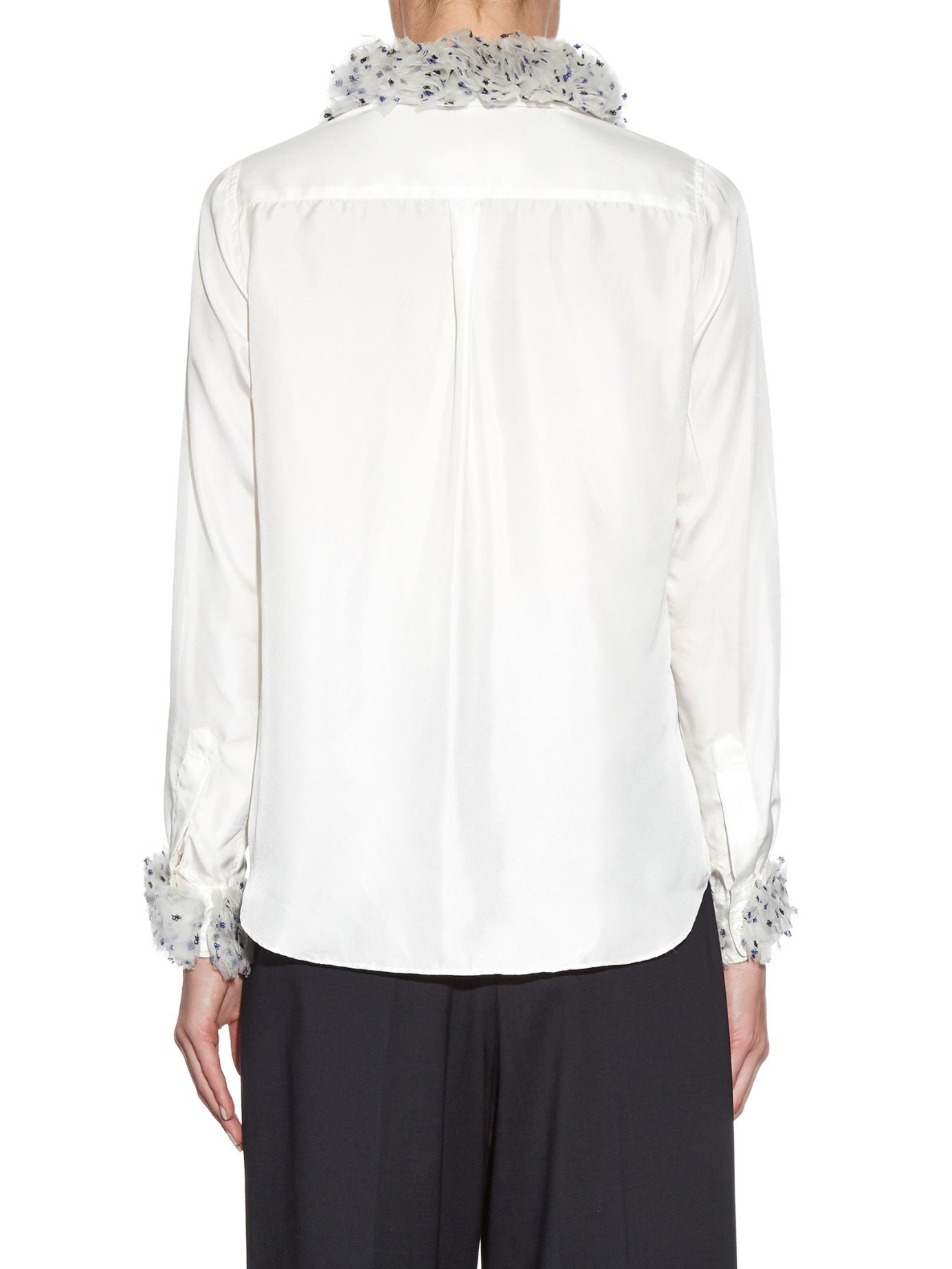 jupe by jackie buskila ruffled detail silk blouse in white