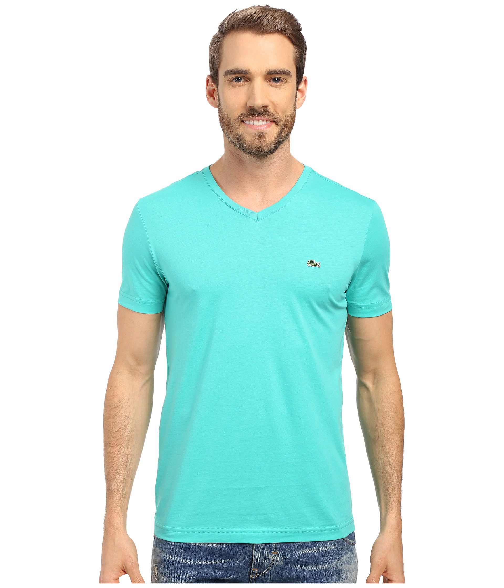 lyst lacoste s s pima jersey v neck t shirt in green for men. Black Bedroom Furniture Sets. Home Design Ideas
