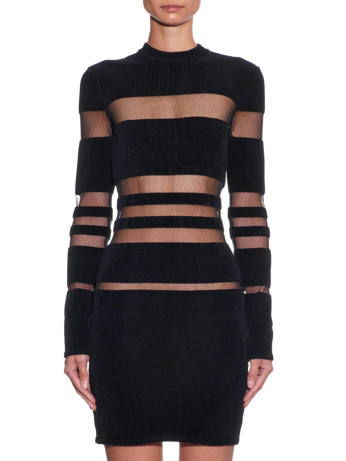 d522dc20 Balmain Long-sleeved Striped Chenille Mini Dress in Black - Lyst