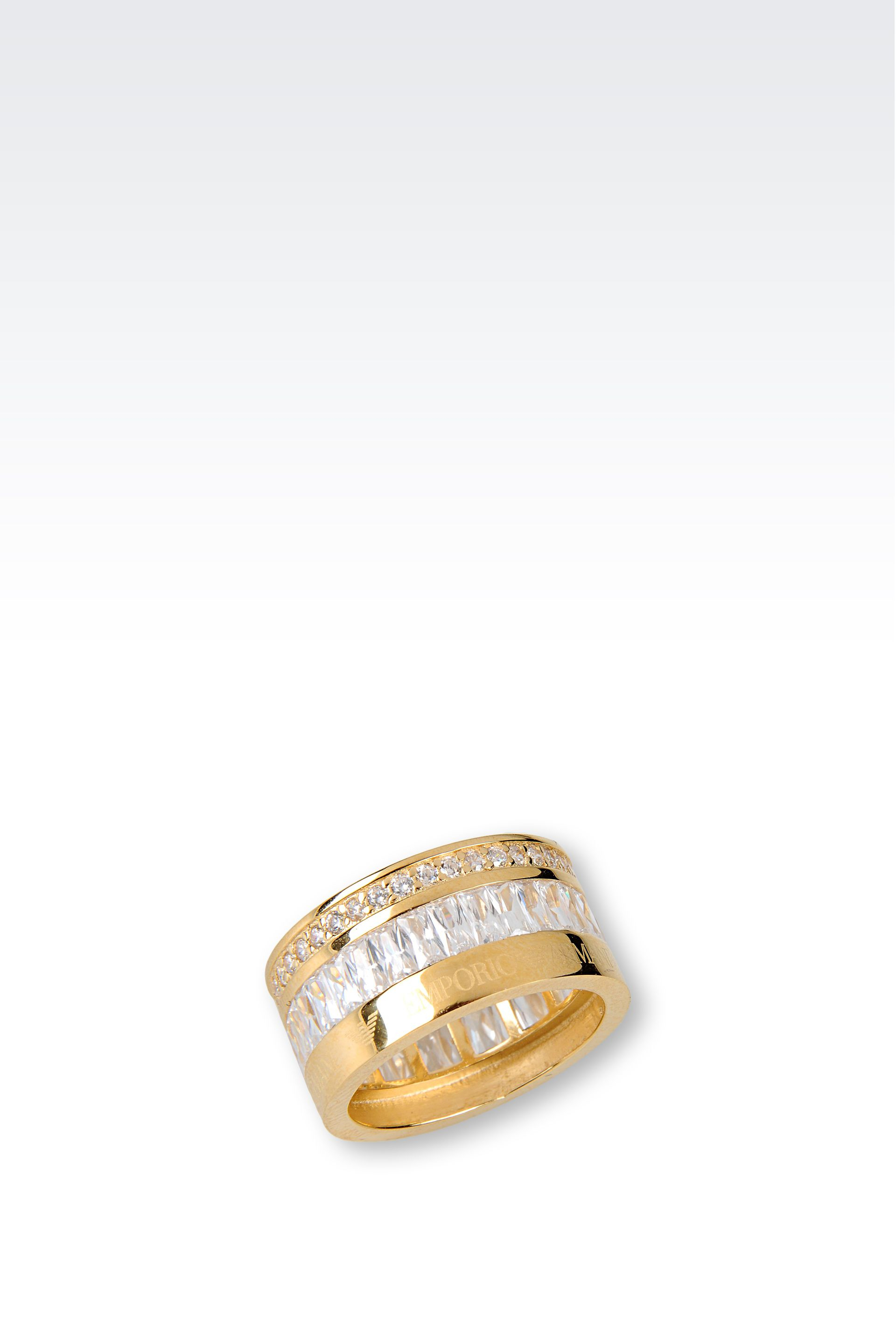 emporio armani ring in gold plated silver and cz stones in