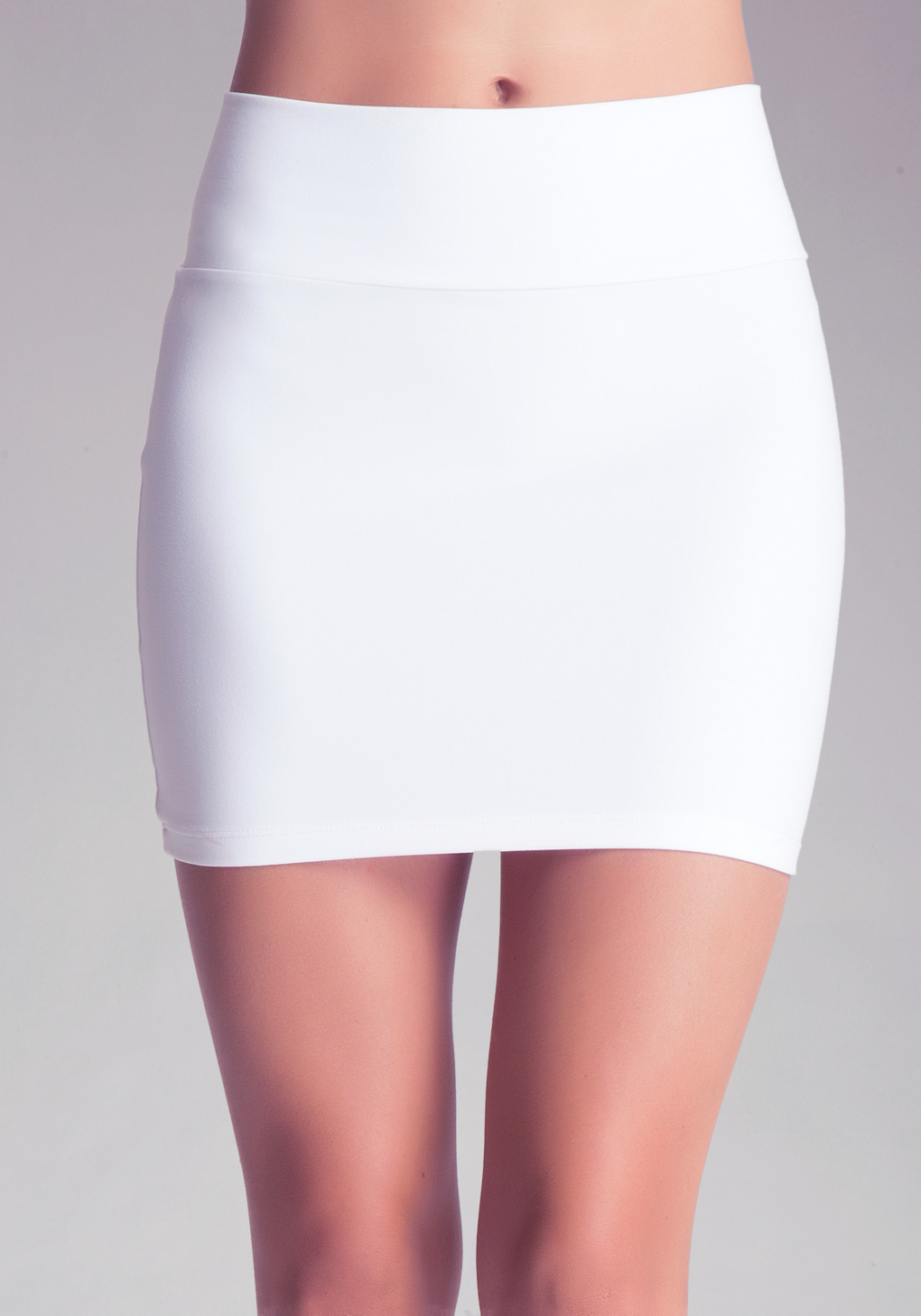 Bebe High Waist Miniskirt in White | Lyst
