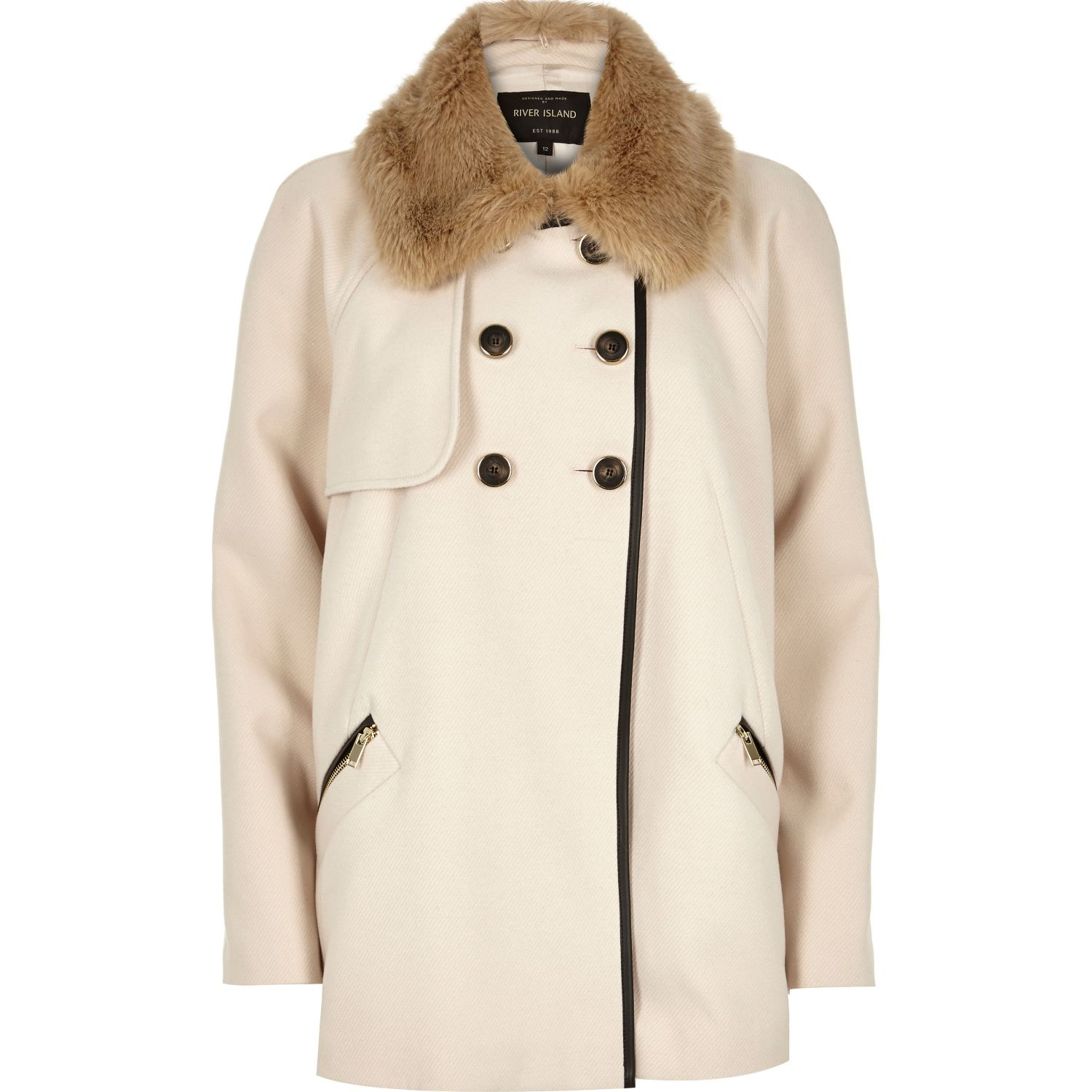 River island Cream 60s Faux Fur Collar Pea Coat in Natural | Lyst