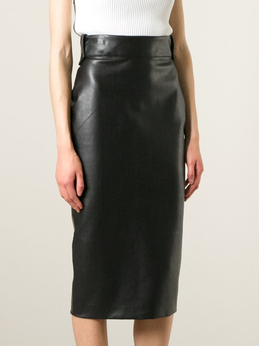 ermanno scervino faux leather pencil skirt in black lyst